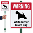 Warning White Terrier Guard Dog LawnBoss™ Signs