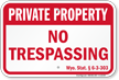 Wyoming Private Property Sign