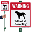 Warning Yellow Lab Guard Dog LawnBoss™ Signs
