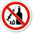 No Drugs Or Alcohol ISO Prohibition Symbol Label
