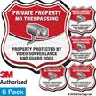 No Trespassing Video Surveillance Shield Label Set