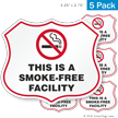 This Is A Smoke Free Facility No Smoking Shield Label Set