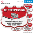 Video Surveillance No Trespassing Shield Label Set