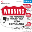 Warning 24 Hour Video Surveillance Shield Label Set