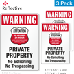 Warning No Trespassing 24 Hour Surveillance Label Set