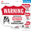 Warning Protected By Bulldog Security Shield Label Set