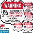 Warning Protected By Bulldog Security Shield Label Set