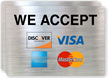 We Accept Visa, MasterCard, Discover, American Express Label