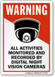 Activities Monitored By Night Vision Cameras Sign