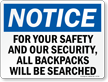 All Backpacks Will Be Searched Sign