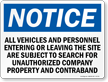All Vehicles And Personnel Subject To Search Sign