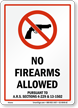 Arizona Firearms And Weapons Law Sign