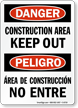 Danger Construction Area Keep Out Bilingual Sign
