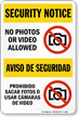 No Photos Video Allowed Security Notice Bilingual Sign