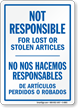 Bilingual Company Not Responsible Sign