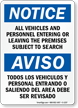 Bilingual Notice Subject To Search Sign