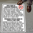 Bilingual No Open Carry Floor Sign for Texas