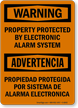 Bilingual OSHA Warning Security Alarm Sign