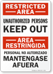 Bilingual Restricted Area Sign