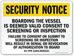 Boarding The Vessel Marsec and Maritime Security Sign
