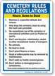 Cemetery Rules And Regulation Rules Sign