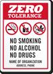 Custom Zero Tolerance Sign