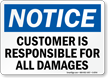 Notice Company Not Responsible Sign