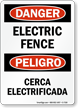 Danger Electric Fence Cerca Electrificada Sign