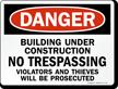 Danger Building Under Construction Sign