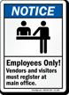 ANSI Notice Visitors Must Register Sign