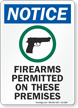 Firearms Permitted On These Premises OSHA Notice Sign