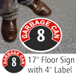 Garbage Can 8 Floor Sign & Label Kit
