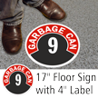 Garbage Can 9 Floor Sign & Label Kit