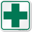 Green Cross Dispensary First-Aid Symbol Sign