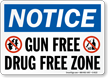 Gun Free Drug Free Zone Notice Sign