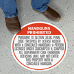 Texas 30.06 Concealed Handguns Prohibited Floor Sign, English