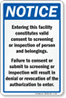 Facility Screening Or Inspection Sign