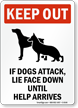 Keep Out Dogs Attack Sign