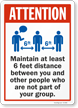 Maintain 6 Ft Distance Between You And Other People Sign