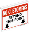 No Customers Beyond This Point Z-Sign for Ceiling