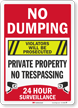 No Dumping Violators Prosecuted Surveillance Sign