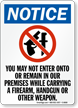 No Firearm, Handgun & Weapon In Premises Sign