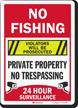 No Fishing Violators Prosecuted Surveillance Sign