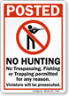 No Hunting, Trespassing, Fishing or Trapping Permitted Sign
