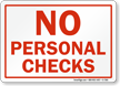 No Personal Checks Sign