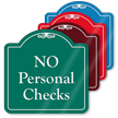 No Personal Checks Signature Style Showcase Sign