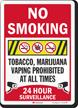 No Smoking Marijuana Prohibited Surveillance Sign