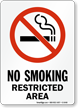 No Smoking Restricted Area (symbol) Sign