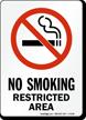 No Smoking Restricted Area (symbol) Sign