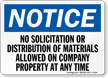No Solicitation or Distribution of Materials Sign